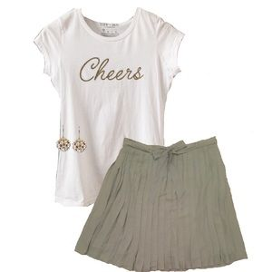 NEW Cheers Gold Glitter Ink Fitted Tee - 2 left!
